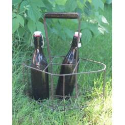 Gl. Fransk Flaskeholder/inkl. 2 flasker