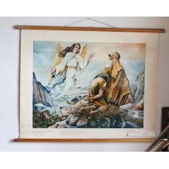 Gammel skoleplanche ABRAHAM & ISAAK [84x65 cm] 1950
