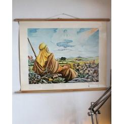 Gammel skoleplanche ABRAHAM [84x65 cm] 1950