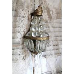 Gammel Fransk Væglampe Krystalglas