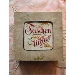 Gammel stofæske [Taschentücher] m. indhold
