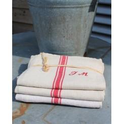 Fransk Håndklæde m. Monogram [JM]| Pr stk