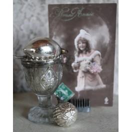 Antikt Julepynt Glas SØLV  Pr stk
