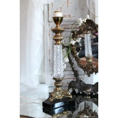 Gammel Fransk Lampe med 'Krystal'glas [37cm]