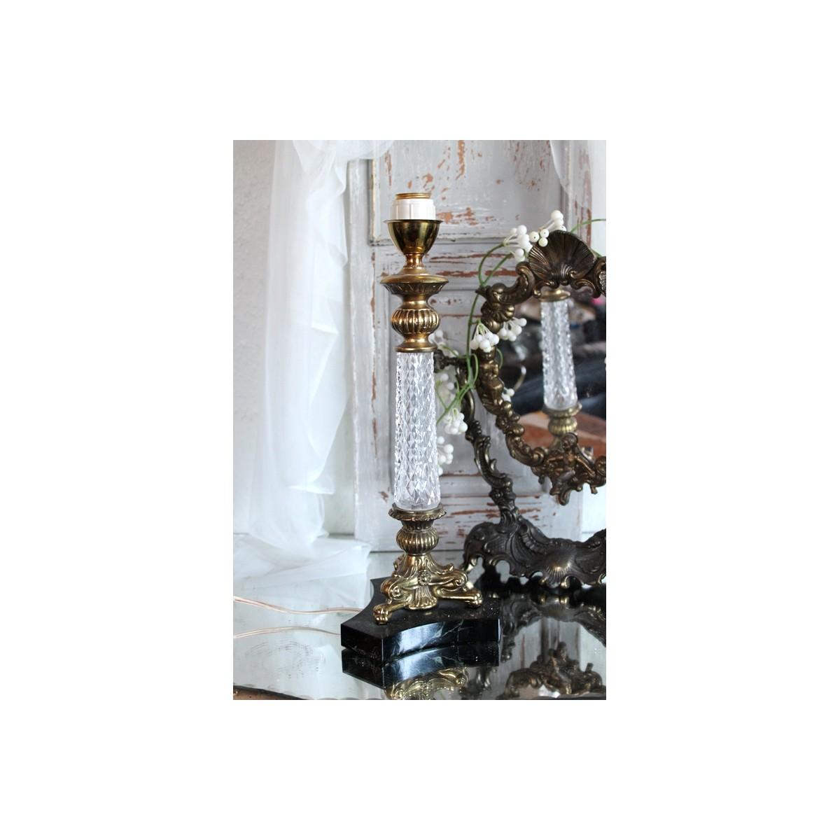 Dejlig Gammel Fransk Lampe med 'Krystal'glas [37cm] OC-91