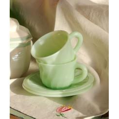 2 x Franske Kopper [Grønt Glas] ~1950