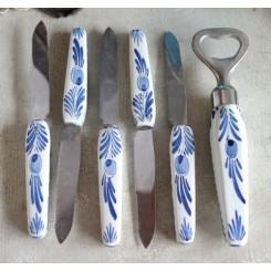 5 knive + oplukker PORCELÆNSSKAFTER