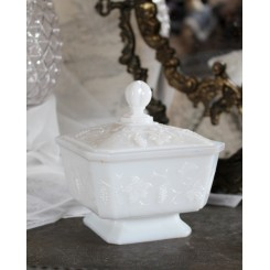 Fransk Bonbonniere Sucrier [Opalglas] Hvid