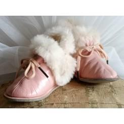 Gamle Sko/Støvler med Skind ROSA