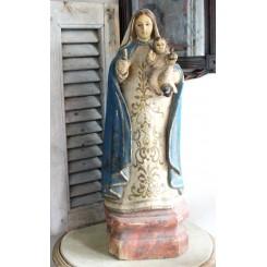 Antik 1700/1800 tals Madonna Træarbejde, med Glasøjne [60cm]